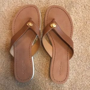 Coach leather flip flops size 6